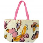 61849PK BUTTER FLY SHOPPING BAG W/ PINK HANDLE