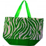 SI123002LG-LIME GREEN ZEBRA SHOPPING BAG
