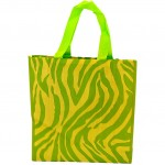 SI123003LG-LIME GREEN ZEBRA SHOPPING BAG