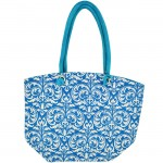 11AQWT-AQUA COLOR JUTE BAG W/WHITE DAMASK DESIGN