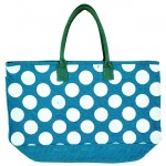 4AQWT-AQUA JUTE BAG W/WHITE DOTS