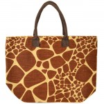 J261BR-GIRAFFE JUTE BAG W/BROWN HANDLE