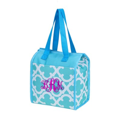 32535 - AQUA QUATREFOIL DESIGN INSULATED LUNCH BAG