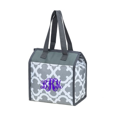 32536 - GREY QUATREFOIL DESIGN INSULATED LUNCH BAG