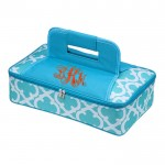 32558-AQUA QUATREFOIL DESIGN INSULATED CASSEROLE CARRIER W/HANDLE