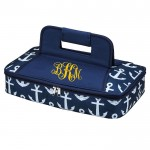 32563-NAVY BLUE MULTI ANCHOR DESIGN INSULATED CASSEROLE CARRIER W/HANDLE