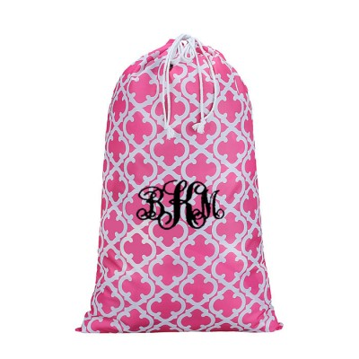 32613-PINK QUATREFOIL DESIGN LAUNDRY BAG