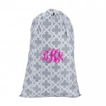 32615-GREY QUATREFOIL DESIGN LAUNDRY BAG