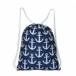 32624-NAVY MULTI-ANCOR DESIGN DRAWSTRING BACK PACK BAG