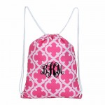 32625-PINK QUATREFOIL DESIGN DRAWSTRING BACK PACK BAG