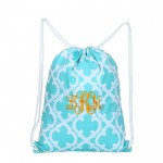 32626-AQUA QUATREFOIL DESIGN DRAWSTRING BACK PACK BAG