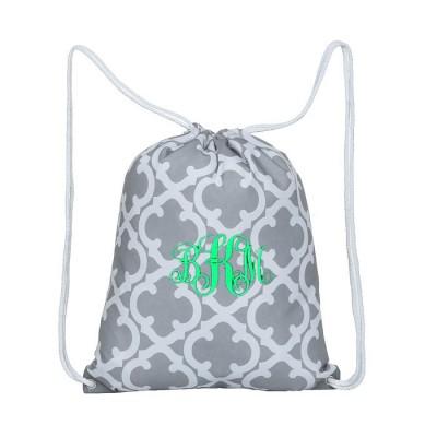 32627-GREY QUATREFOIL DESIGN DRAWSTRING BACK PACK BAG