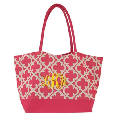 32646-PINK QUATREFOIL DESIGN SHOPPING OR BEACH BAG
