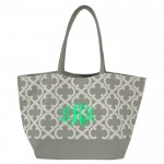 32648-GREY QUATREFOIL DESIGN SHOPPING OR BEACH BAG