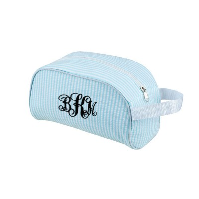 32712 - AQUA COTTON SEERSUCKER COSMETIC BAG