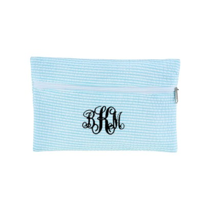 32721 - AQUA SEERSUCKER WALLET BAG/ COSMETIC BAG