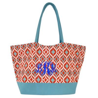 6001- AQUA MULTI DESIGNER SHOPPING OR BEACH BAG