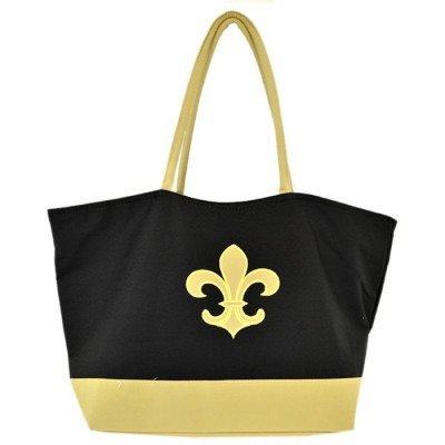 6042- BLACK SHOPPING OR BEACH BAG / GOLD FDL