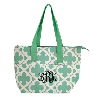 6044 - AQUA QUATREFOIL DESIGN INSULATED LUNCH BAG