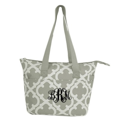 6044 - GREY QUATREFOIL DESIGN INSULATED LUNCH BAG