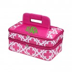 6051 - HOTPINK QUATREFOIL DESIGN DOUBLE INSULATED CASSEROLE CARRIER W/HANDLE
