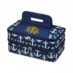 6051 - NAVY MULTI ANCHOR DESIGN DOUBLE INSULATED CASSEROLE CARRIER W/HANDLE