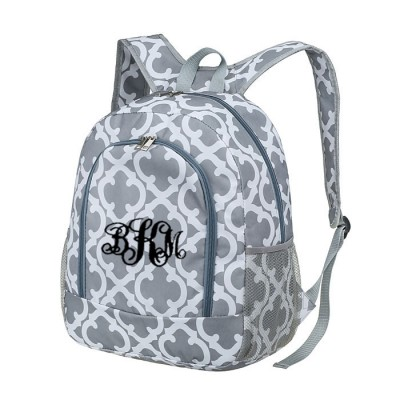 6052 - GREY QUATREFOIL DESIGN BACKPACK