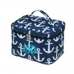 6057 - NAVY ANCHOR DESIGN COSMETIC BAG