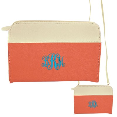 9015- CORAL/WH PU LEATHER CROSS BODY/ SHOULDER BAG