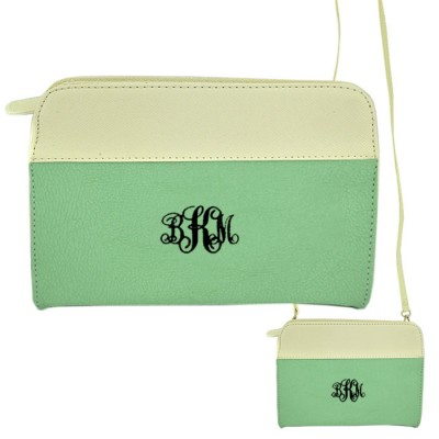 9015- MINT/WH PU LEATHER CROSS BODY/ SHOULDER BAG