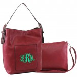9031 - BURGUNDY PU 2PC LEATHER HANDBAG  W/BURGANDY SHOULDER BAG