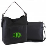 9031 - BLACK PU 2PC LEATHER HANDBAG  W/BLACK SHOULDER BAG