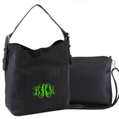9031 - BLACK PU 2PC LEATHER HANDBAG  W/BLACK SHOULDER BAG