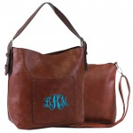 9031 -DARK BROWN PU 2PC LEATHER HANDBAG W/BROWN SHOULDER BAG