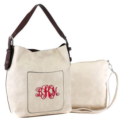 9031 - CREAM PU 2PC LEATHER HANDBAG W/CREAM SHOULDER BAG