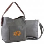 9031 -GREY PU 2PC LEATHER HANDBAG W/D-GREY SHOULDER BAG