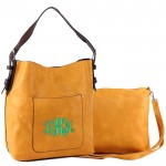 9031 - MUSTARD  PU 2PC LEATHER HANDBAG  W/BLACK SHOULDER BAG