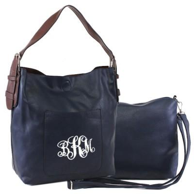 9031 - NAVY PU 2PC LEATHER HANDBAG  W/NAVY SHOULDER BAG