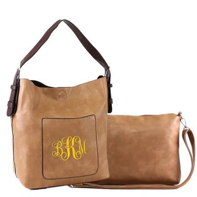 9031 - TAN PU 2PC LEATHER HANDBAG W/TAUPE SHOULDER BAG