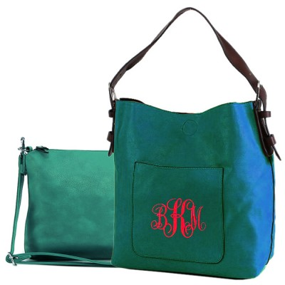 9031 - TURQUOISE PU 2PC LEATHER HANDBAG  W/BLACK SHOULDER BAG