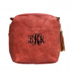 9056- RED PU LEATHER SHOULDER CROSSBODY BAG