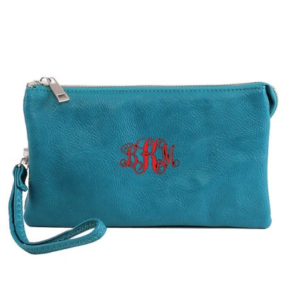 9065- AQUA PU LEATHER TRI POCKET CLUTCH / CROSS BODY BAG