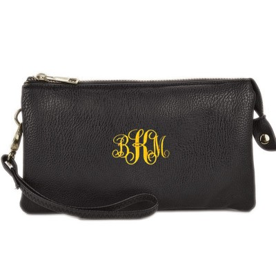9065- BLACK PU LEATHER TRI POCKET CLUTCH / CROSS BODY BAG