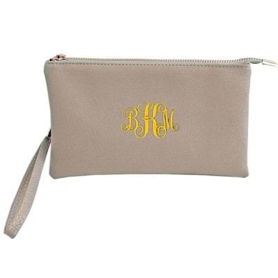9065- GRAY PU LEATHER TRI POCKET CLUTCH / CROSS BODY BAG