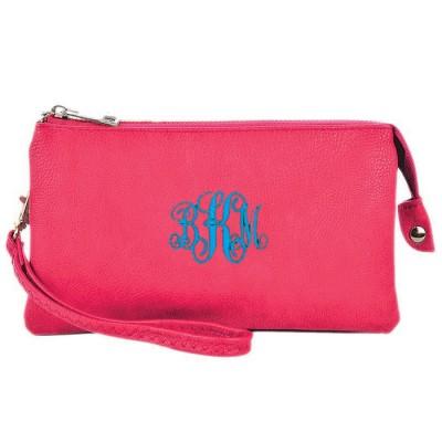 9065- HOTPINK PU LEATHER TRI POCKET CLUTCH / CROSS BODY BAG