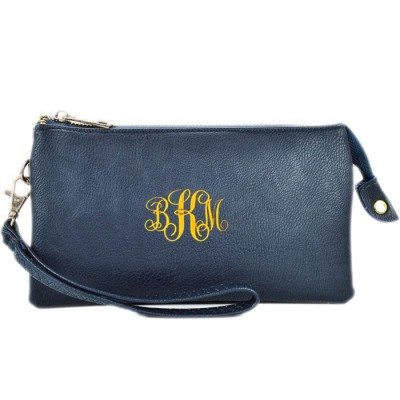9065- NAVY BLUE PU LEATHER TRI POCKET CLUTCH / CROSS BODY BAG