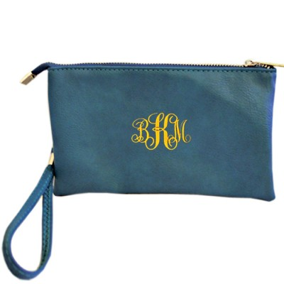 9065- TURQUOISE PU LEATHER TRI POCKET CLUTCH / CROSS BODY BAG