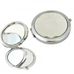 180417-ROUND COMPACT MIRROR W/CLEAR CRYSTAL TOP