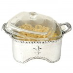 3514-HAMMERED SQUARE W/FDL CASSEROLE HOLDER W/GLASS