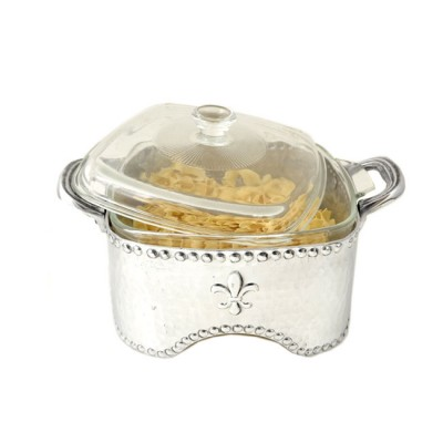 3516-HAMMERED SQUARE W/FDL CASSEROLE HOLDER W/GLASS